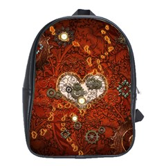 Steampunk, Wonderful Heart With Clocks And Gears On Red Background School Bags (xl)  by FantasyWorld7