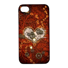 Steampunk, Wonderful Heart With Clocks And Gears On Red Background Apple Iphone 4/4s Hardshell Case With Stand by FantasyWorld7