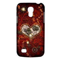 Steampunk, Wonderful Heart With Clocks And Gears On Red Background Galaxy S4 Mini by FantasyWorld7