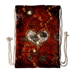 Steampunk, Wonderful Heart With Clocks And Gears On Red Background Drawstring Bag (large) by FantasyWorld7