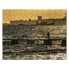 River Plater River Scene At Montevideo Rectangular Jigsaw Puzzl by dflcprints