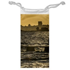 River Plater River Scene At Montevideo Jewelry Bags by dflcprints