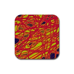 Orange Neon Rubber Square Coaster (4 Pack)  by Valentinaart