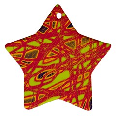 Orange Neon Star Ornament (two Sides)  by Valentinaart
