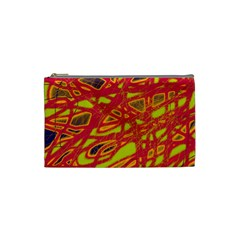 Orange Neon Cosmetic Bag (small)  by Valentinaart