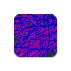 Blue Rubber Square Coaster (4 Pack)  by Valentinaart