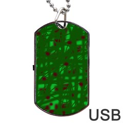 Green  Dog Tag Usb Flash (one Side) by Valentinaart