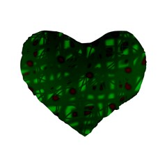 Green  Standard 16  Premium Heart Shape Cushions by Valentinaart