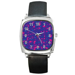 Blue And Pink Neon Square Metal Watch by Valentinaart