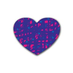 Blue And Pink Neon Rubber Coaster (heart)  by Valentinaart