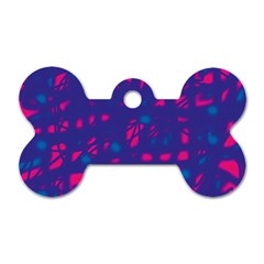 Blue And Pink Neon Dog Tag Bone (one Side) by Valentinaart