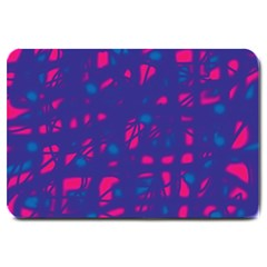 Blue And Pink Neon Large Doormat  by Valentinaart