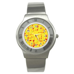 Yellow And Red Stainless Steel Watch by Valentinaart