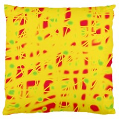Yellow And Red Large Cushion Case (two Sides) by Valentinaart
