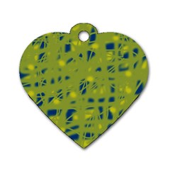 Green And Blue Dog Tag Heart (one Side) by Valentinaart