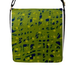 Green And Blue Flap Messenger Bag (l)  by Valentinaart