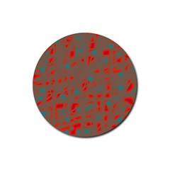 Red And Brown Rubber Round Coaster (4 Pack)  by Valentinaart