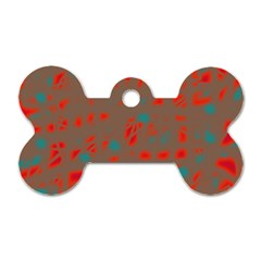 Red And Brown Dog Tag Bone (one Side) by Valentinaart