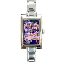 Abstract High Art By Moma Rectangle Italian Charm Watch by Valentinaart