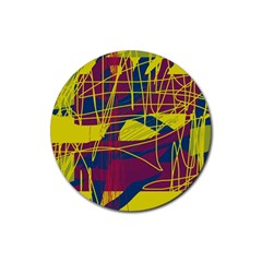 Yellow High Art Abstraction Rubber Coaster (round)  by Valentinaart