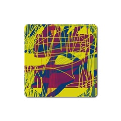 Yellow High Art Abstraction Square Magnet by Valentinaart