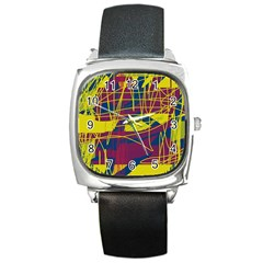 Yellow High Art Abstraction Square Metal Watch by Valentinaart