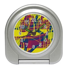 Yellow High Art Abstraction Travel Alarm Clocks by Valentinaart