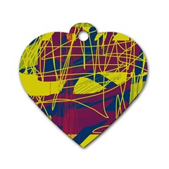 Yellow High Art Abstraction Dog Tag Heart (one Side) by Valentinaart