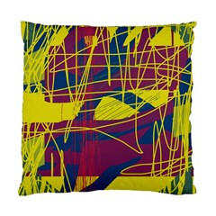 Yellow High Art Abstraction Standard Cushion Case (two Sides) by Valentinaart
