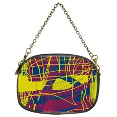 Yellow High Art Abstraction Chain Purses (two Sides)  by Valentinaart