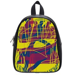 Yellow High Art Abstraction School Bags (small)  by Valentinaart