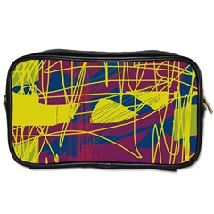 Yellow High Art Abstraction Toiletries Bags 2 Side by Valentinaart