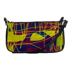 Yellow High Art Abstraction Shoulder Clutch Bags by Valentinaart