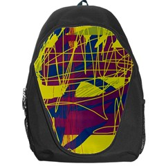 Yellow High Art Abstraction Backpack Bag by Valentinaart