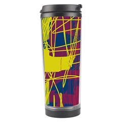 Yellow High Art Abstraction Travel Tumbler by Valentinaart