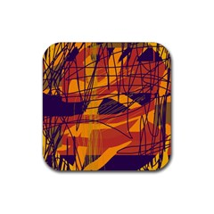 Orange High Art Rubber Coaster (square)  by Valentinaart