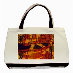 Orange High Art Basic Tote Bag (two Sides) by Valentinaart