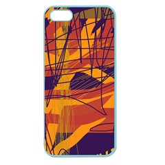 Orange High Art Apple Seamless Iphone 5 Case (color) by Valentinaart