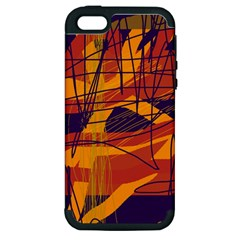 Orange High Art Apple Iphone 5 Hardshell Case (pc+silicone) by Valentinaart