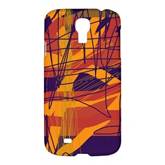 Orange High Art Samsung Galaxy S4 I9500/i9505 Hardshell Case by Valentinaart