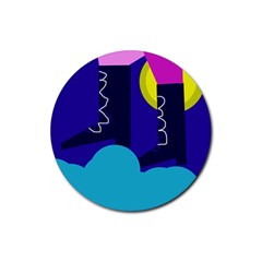 Walking On The Clouds  Rubber Round Coaster (4 Pack)  by Valentinaart