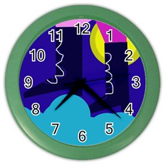 Walking On The Clouds  Color Wall Clocks by Valentinaart