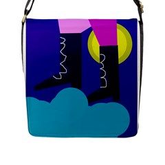 Walking On The Clouds  Flap Messenger Bag (l)  by Valentinaart