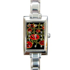 Red And Yellow Hot Design Rectangle Italian Charm Watch by Valentinaart
