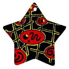 Red And Yellow Hot Design Ornament (star)  by Valentinaart
