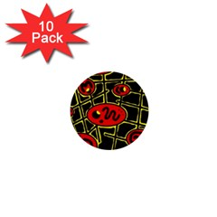 Red And Yellow Hot Design 1  Mini Buttons (10 Pack)  by Valentinaart