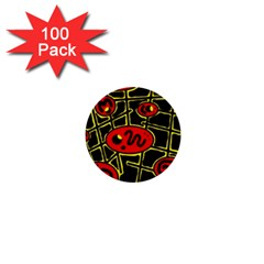 Red And Yellow Hot Design 1  Mini Buttons (100 Pack)  by Valentinaart