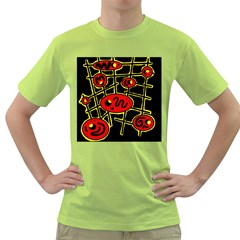 Red And Yellow Hot Design Green T Shirt