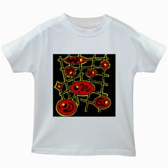 Red And Yellow Hot Design Kids White T Shirts by Valentinaart