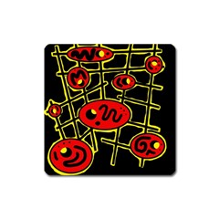 Red And Yellow Hot Design Square Magnet by Valentinaart